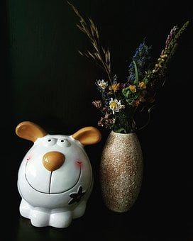Vase, Bouquet, Piggy, Hare, White, Background, Black