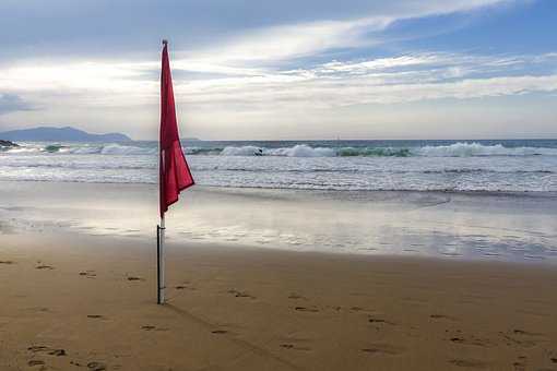 Beach, Sea, Sand, Flag, Ocean, Red Flag, Sky, Landscape