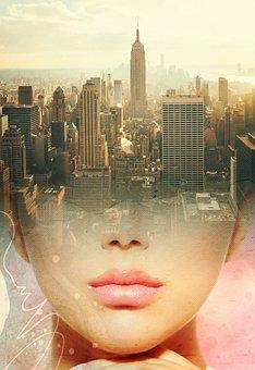Buildings, Skycrapers, New York, Skyline, Sunset, Face