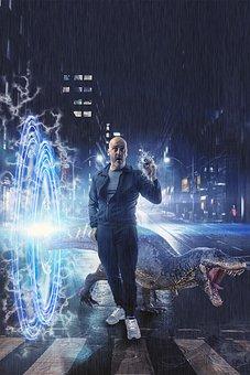 Time Portal, Dinosaur, Time Machine, Surprise, Danger