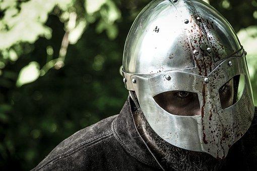 Medieval, Knight, Warrior, Man, Armor, Bloody, Helmet