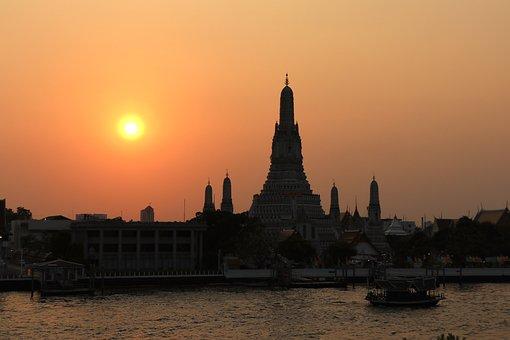 Wat Arun, Sunset, Bangkok, Thailand, Temple