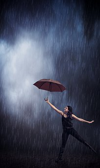 Rain, Umbrella, Girl, Weather, Wet, Water, Splash