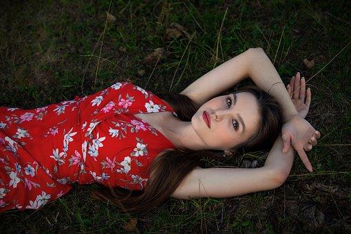 Woman, Model, Grass, Dress, Pose, Lying Down, Field