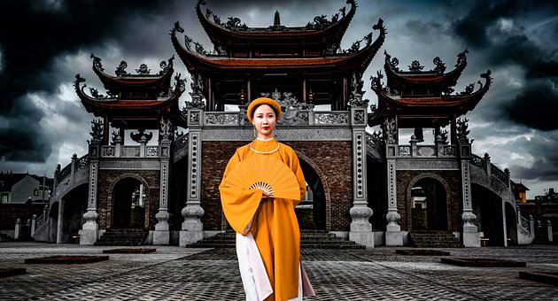 Woman, Model, Vietnamese, Costume, Flower, Long Dress