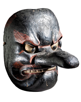 Hanging Mask, Mask, Japan, Scary, Spooky, Antique