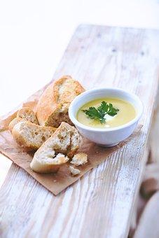 Leek, Potato, Soup, Bread, Healthy, White, Bowl