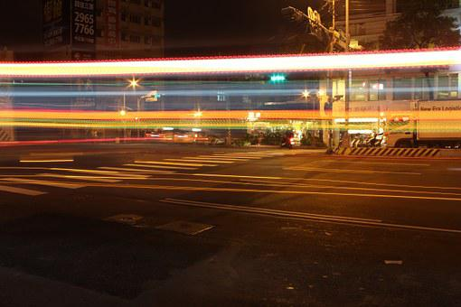 Night View, 燈, Street, Car Flow, Slow Fast Del Carmen
