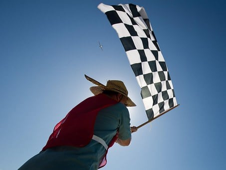 Race, Aircraft, Sky, Clouds, Airplane-race, Flag