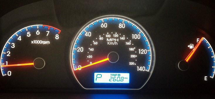 Speedometer, Dashboard, Dashboard Lights, Gauge, Car