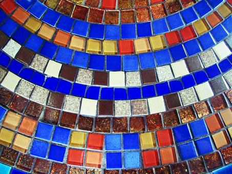 Mosaic, Colorful, Blue, Tiles, Background, Design