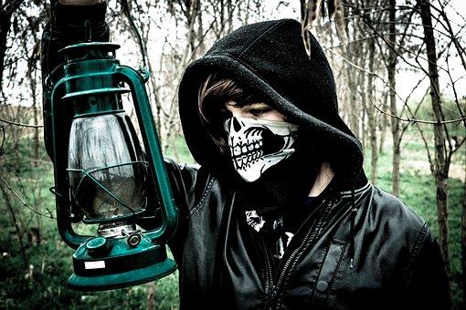 Skull, Lantern, Trees, Horror, Scary, Fear