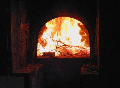Oven, Fireplace, Firebox, Fire, Lit, Burn, Cook