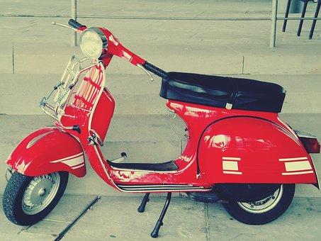 Vespa, Roller, Motor Scooter, Retro, Cult, Red, Flitzer