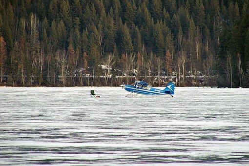 Ice Landing, Floatplane, Winter, Frozen, Lake, Scenery