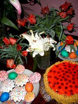 Easter, Cake, Tulips, Still Life, Food, Sweets