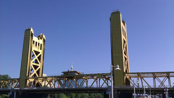 Bridge, Sacramento, Gold, Landmark, Downtown, Travel