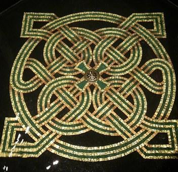 Church, Font, Celtic, Design, Irish, Knot Work, Art