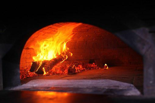 Wood Fired Oven, Oven, Pizza, Fire, Lit, Kitchen