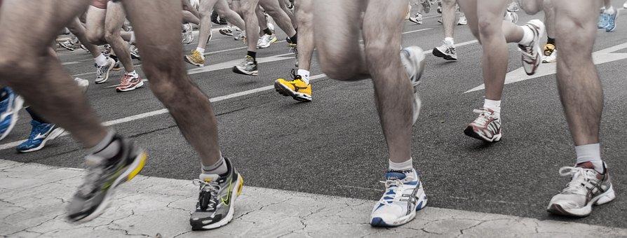 Shoes, Marathon, Race, Road, Finishing Line, Legs