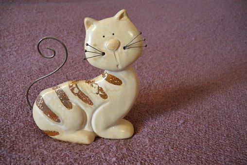 Cat, Mustache, Tail, Figurine, Odd Job, Striped, Animal