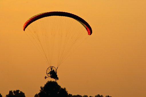 Paragliding, Paramotor, Sunset, Motor, Motorsegler