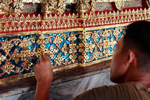 Craft, Art, Gold, Mosaic, Tiles, Colorful, Pattern