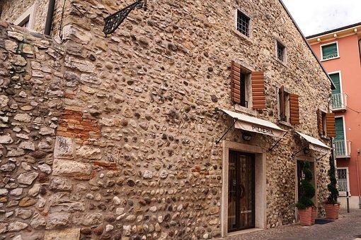 Home, Pizzeria, Italy, Bardolino, Old, Facade, Garda