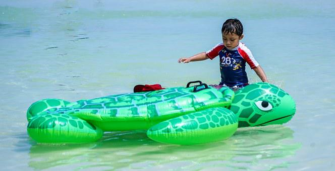 Child, Caribbean, Water, Sea, Playing, Toy, Turtle, Kid
