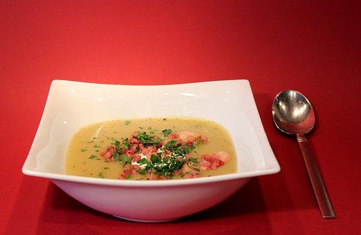 Soup, Potato Soup, Stew, Spoon, Plate, Eat, Soup Bowls