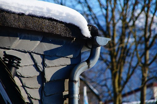 Gutter, Downpipe, Snow, Winter, Protection, Slate