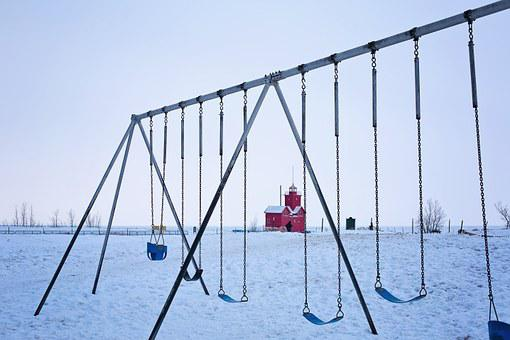 Playground, Swings, Swing Set, Winter, Red, Snow, Ice