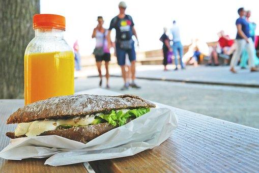 Sandwich, Bank, Orange Juice, Lunch, Snack, Roll, Eat