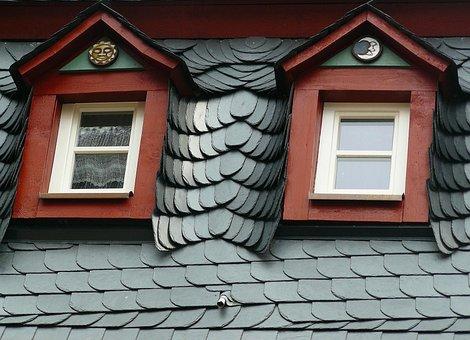 Roof, Slate Roof, Slate, Roofing, Giebelfenster, Gable