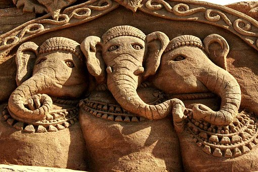 Sand Sculpture, Elephant, Sculpture, Sand, Sandworld