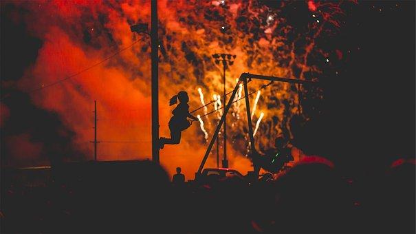 Fireworks, Smoke, Light Show, Night, Dark, Swing Set
