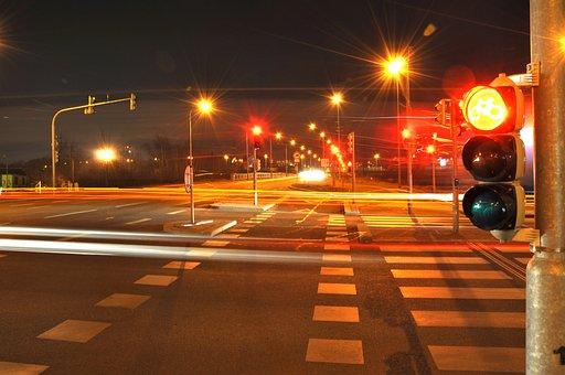 Night, The Semaphore, Light, Transport, Road, City