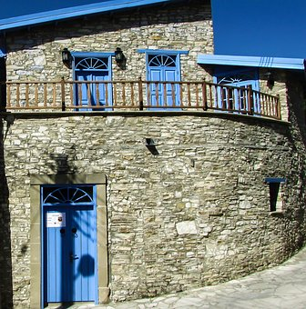 House, Stone, Architecture, Traditional, Blue, Village