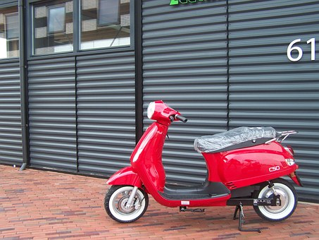 Scooter, Electric Scooter, Vespa, Red