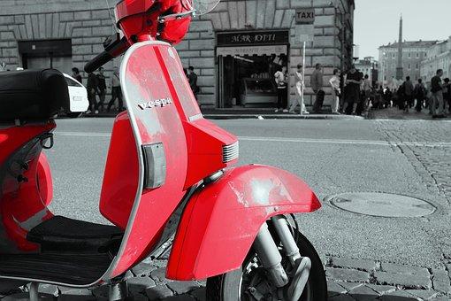 Red, Vespa, Scooter, Moped, Street, Road, Sidewalk