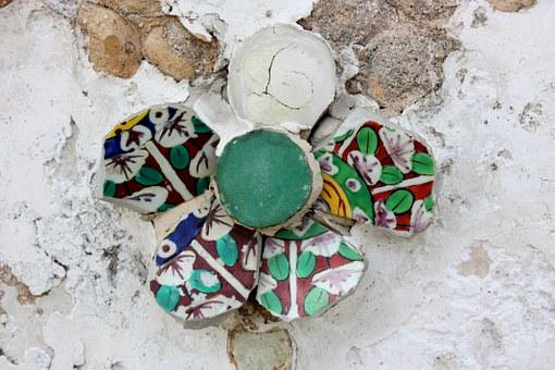 Ornament, Mosaic, Flower, Stone, Frag, Mortar, Wall