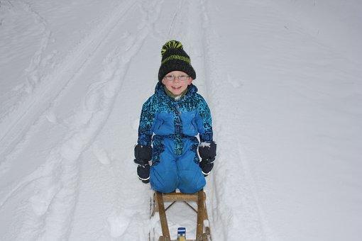 Children, Winter, Sleigh Ride, Winter Sports, Cold