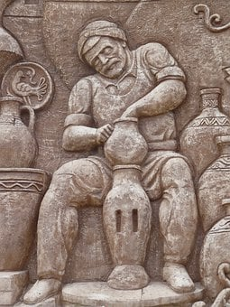 Wall Relief, Pottery, Man, Work, Craft