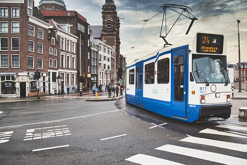 Tram, Amsterdam, Route, Transport, Public, Architecture