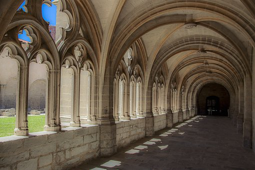 Cloister, Auvergne, France, Architecture, Walkway