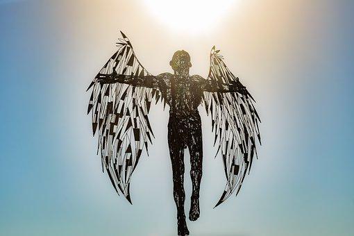 Angel, Statue, Sculpture, Wings, Metallic, Icarus, Art