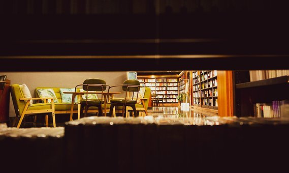 Library, Couch, Chairs, Books, Bookshelves, Bookstore