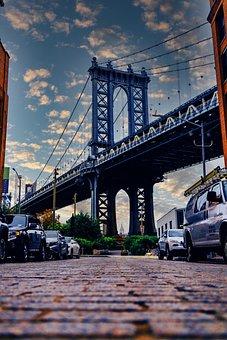 Bridge, Suspension Bridge, Brooklyn, Clouds, Sky