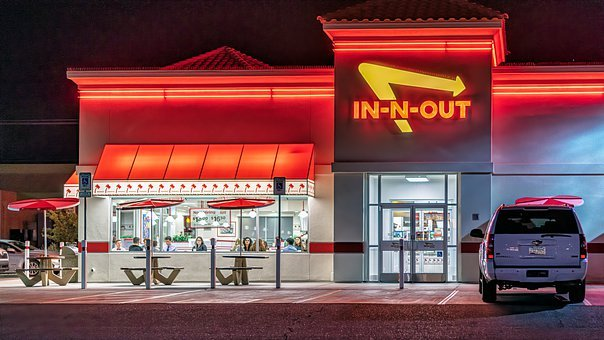 Restaurant, In-n-out, Burger, Night, Neon, Building