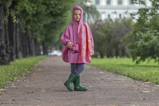 Girl, Raincoat, Park, Rain, Rain Boots, Casual, Pose
